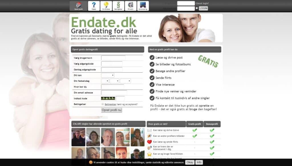 Endate.dk screenshot
